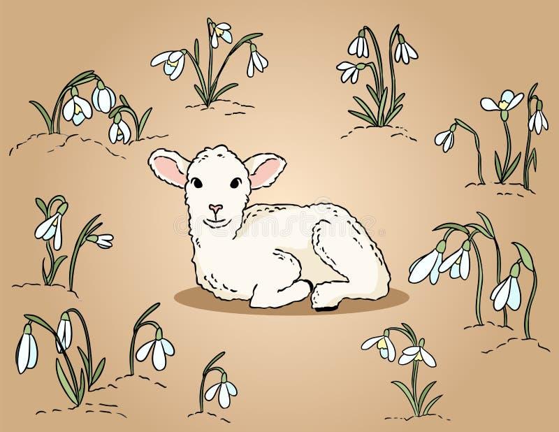 Het leuke lam onder de sneeuwklokjes overhandigt getrokken kleurrijke illustratie royalty-vrije illustratie