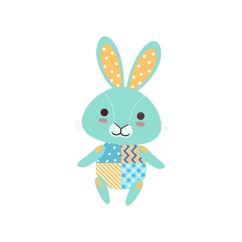 Het leuke lichtblauwe stuk speelgoed van de konijntjes zachte pluche, gevulde beeldverhaal dierlijke vectorillustratie stock illustratie