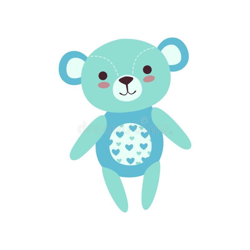 Het leuke lichtblauwe stuk speelgoed van de teddybeer zachte pluche, gevulde beeldverhaal dierlijke vectorillustratie vector illustratie