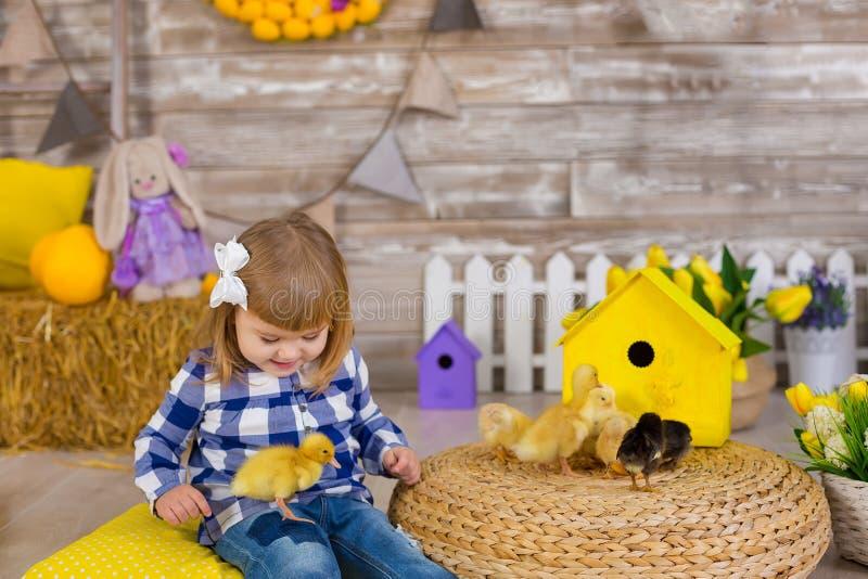 Het leuke meisje die rustieke jeans dragen die huid spelen - en - zoekt met een kippenzitting bij een hooiberg Het concept kinder stock foto