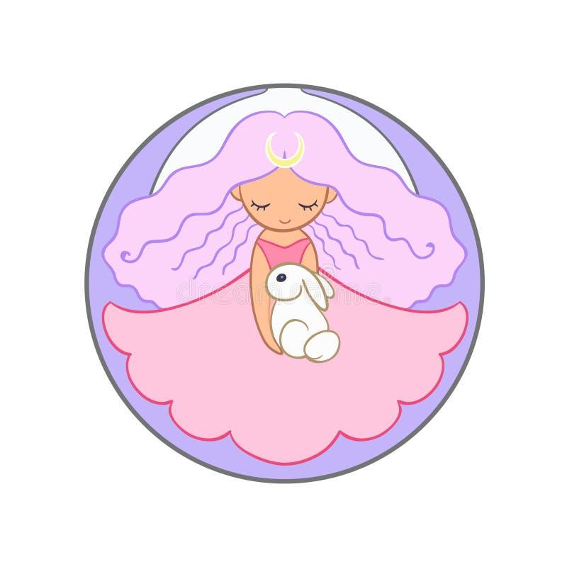 Het leuke meisje die van de maanprinses een konijn houden vector illustratie