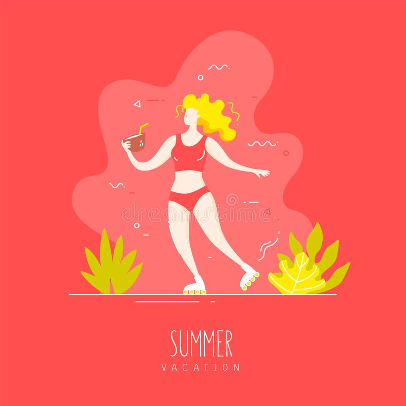 Het leuke meisje in een zwempak en op rollen met een kokosnotencocktail loopt op het tropische strand Vector kaart vector illustratie