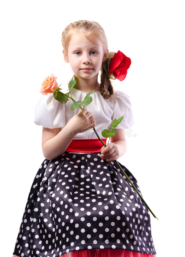 Het leuke meisje in elegante kleding met nam toe royalty-vrije stock afbeelding