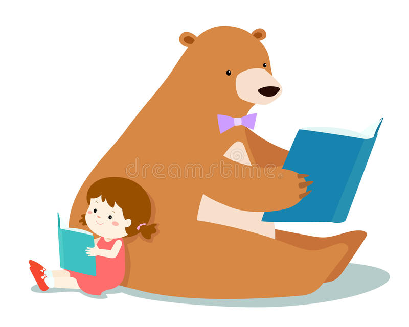 Het leuke meisje en pluizig draagt leest een boek royalty-vrije illustratie