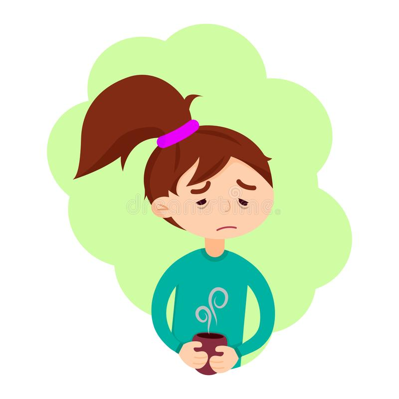 Het leuke meisje heeft griepziekte royalty-vrije illustratie