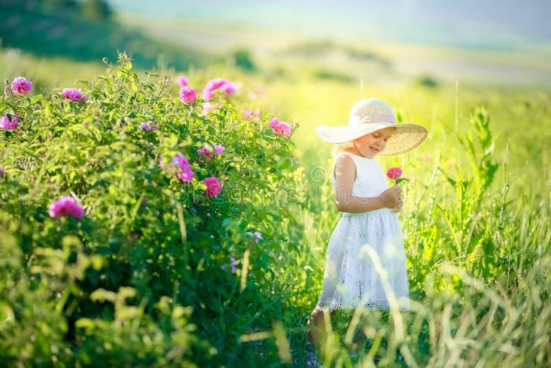 Het leuke meisje hoed dragen en de witte kleding die bevinden zich op het roze bloemgebied van Sunn-Hennep Crotalaria Juncea royalty-vrije stock afbeelding