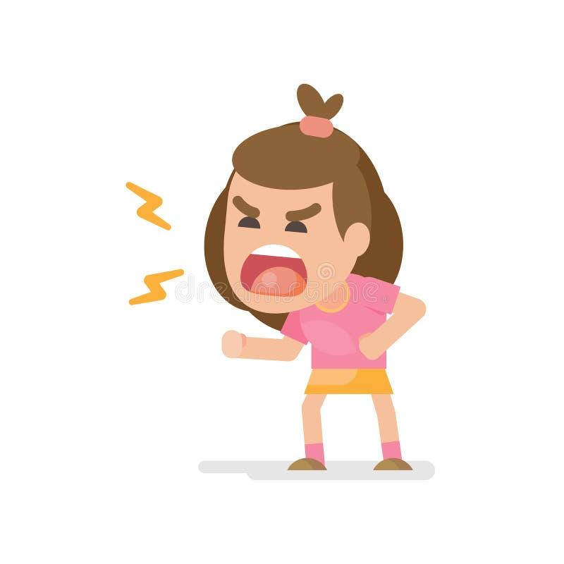 Het leuke meisje krijgt gekke boze het vechten en het schreeuwen uitdrukking, Vectorillustratie royalty-vrije illustratie