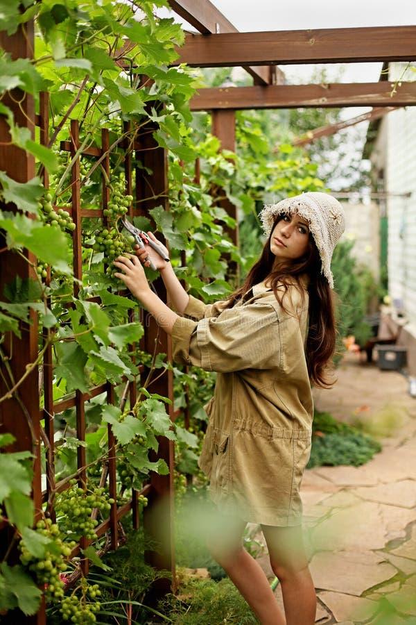 Het leuke meisje met lang haar maakt knipsel met grote tuinschaar royalty-vrije stock foto