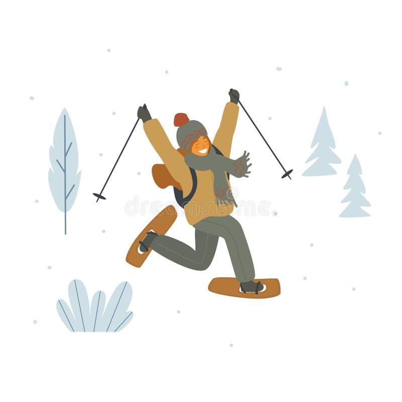 Het leuke meisje snowshoeing in grafische de winterbos geïsoleerde vectorillustratie vector illustratie
