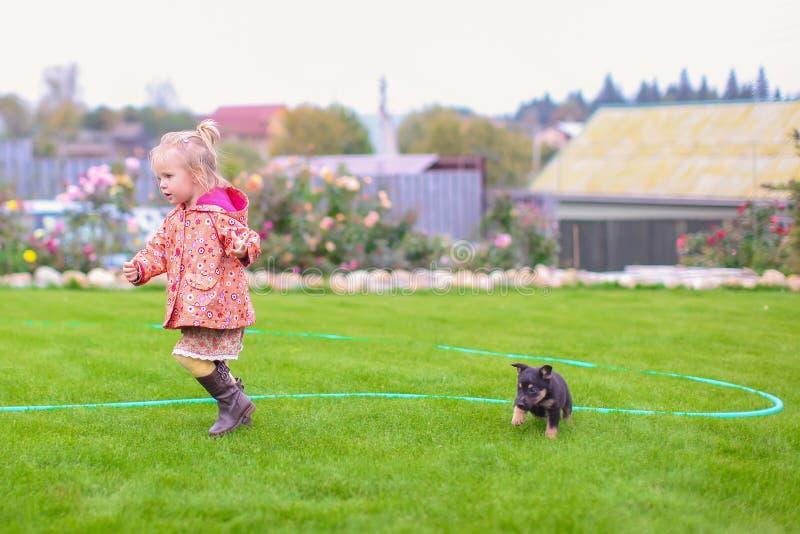 Het leuke meisje spelen met haar puppy in de werf stock fotografie