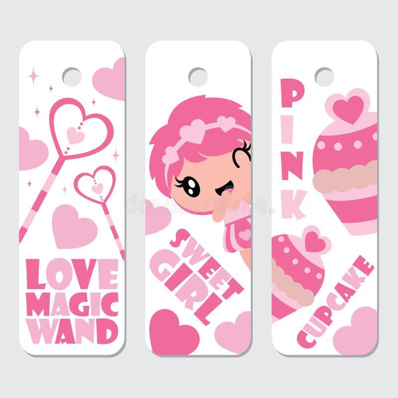 Het leuke meisje, het toverstokje, en cupcake de beeldverhaalillustratie voor Valentine-etiket etiketteren ontwerp vector illustratie