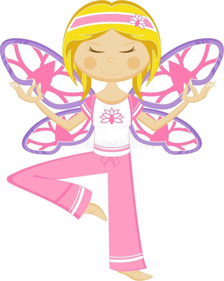 Het leuke Meisje van de Vlinderyoga royalty-vrije illustratie