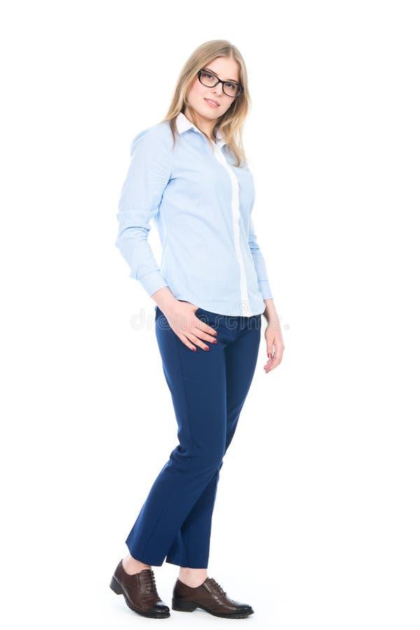 Het leuke Meisje van gemiddelde lengte met Glazen stock afbeelding