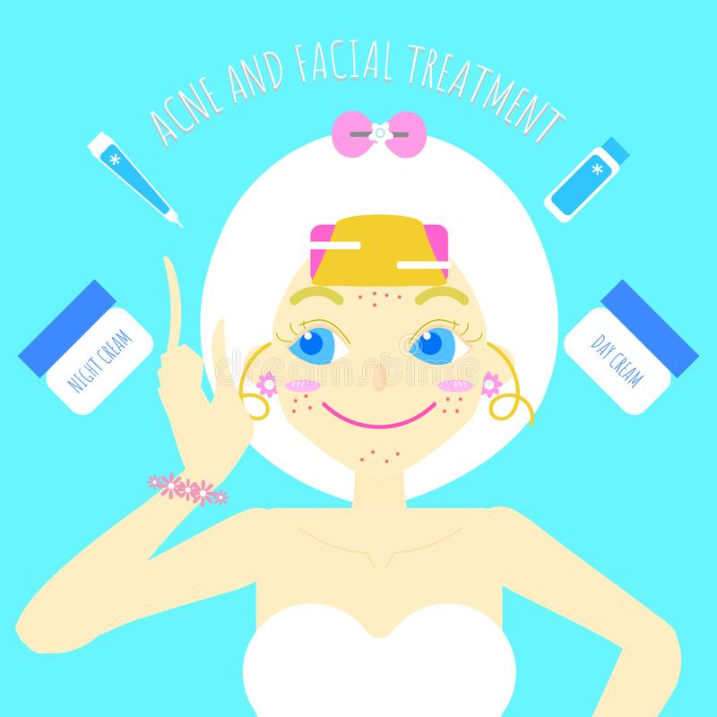 Het leuke mooie meisjesschoonheidsmiddel maakt en beauty spa de behandeling van de huidzorg omhoog vlak karakterontwerp, infograp stock illustratie