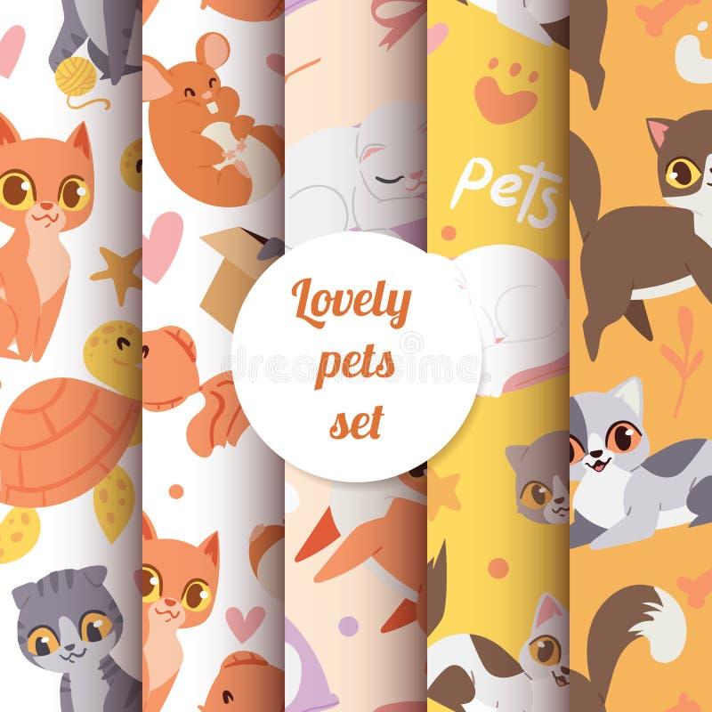 Het leuke naadloze patroon van dierenkatten met de mooie illustratie van karaktershuisdieren vector illustratie