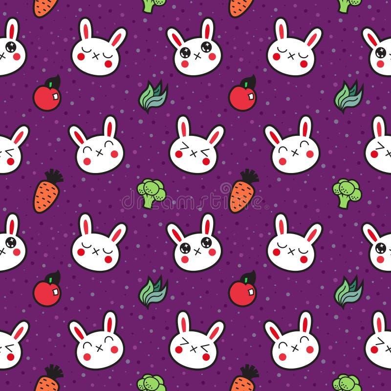 Het leuke naadloze vectorpatroon van beeldverhaalkonijnen royalty-vrije illustratie