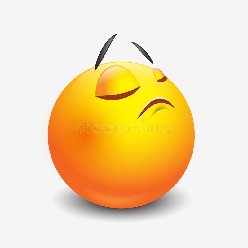 Het leuke negeren emoticon, emoji, smiley - vectorillustratie stock illustratie