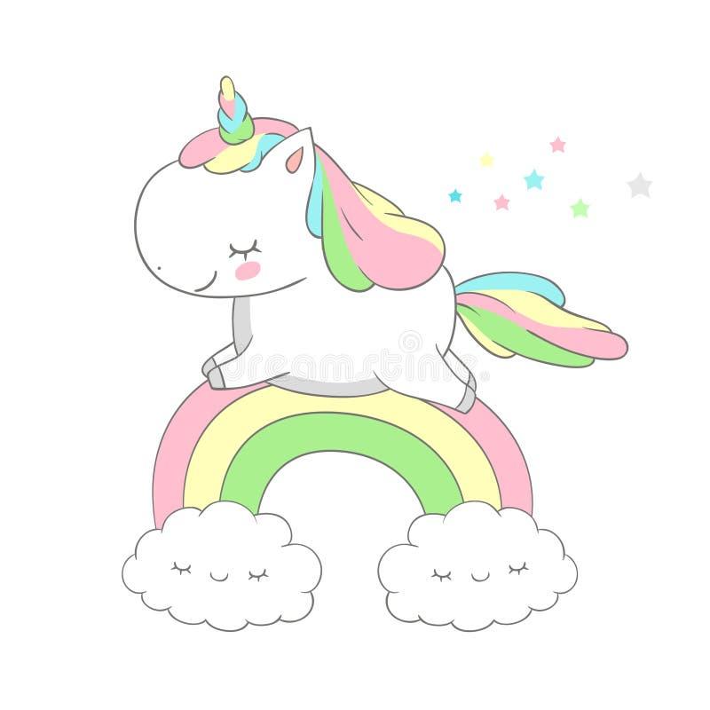 Het leuke Ontwerp van Babyunicorn run above rainbow vector Grappige Pony Fairy Tale Can wordt gebruikt voor t-shirtdruk, jonge ge vector illustratie
