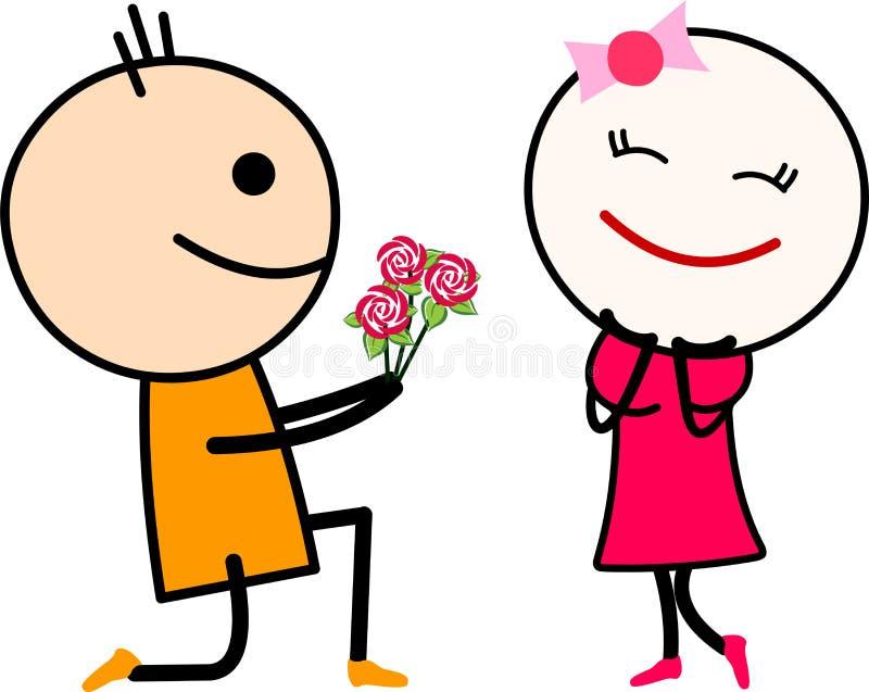 Het leuke paar van de beeldverhaalliefde, jongen die meisje met rozen voorstellen vector illustratie