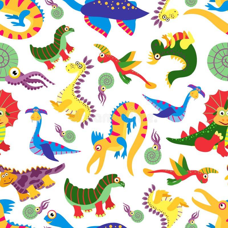 Het leuke patroon van babydinosaurus De Jura roofdier vectorachtergrond van het dinosaurusbeeldverhaal stock illustratie
