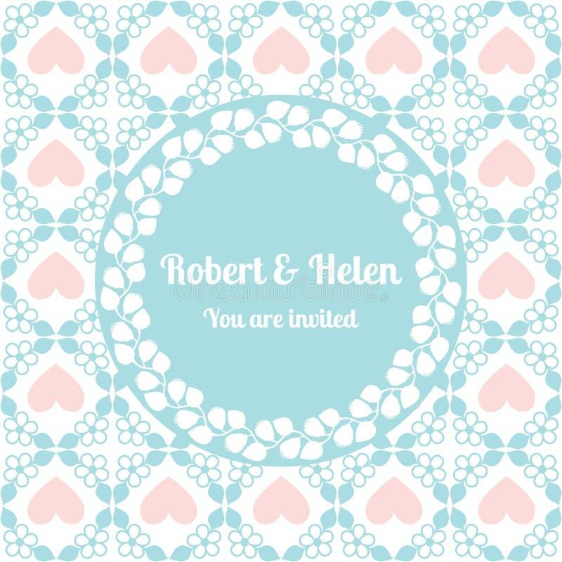 Het leuke patroon van de huwelijkskaart met bloemenkader stock illustratie