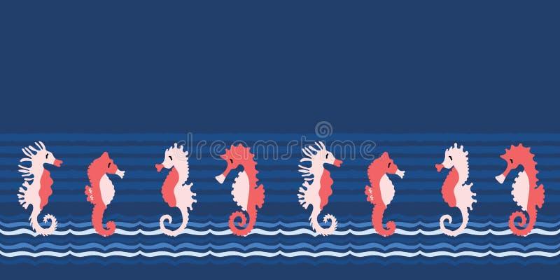 Het leuke patroon van de de illustratiegrens van het seahorsesbeeldverhaal Hand getrokken oceaandieren naadloze vectorachtergrond royalty-vrije illustratie
