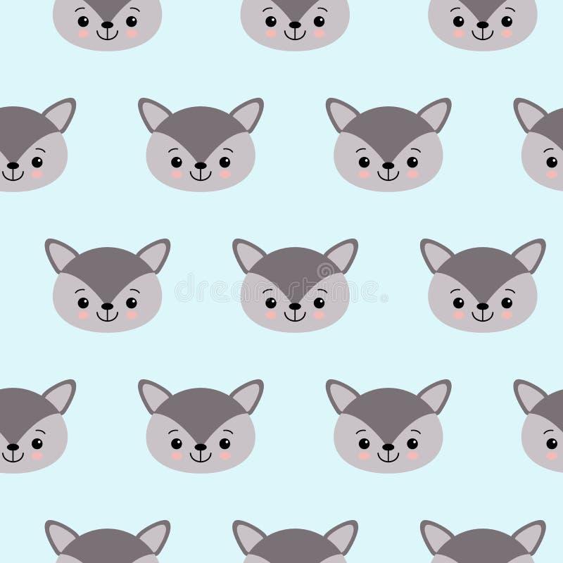 Het leuke patroon van de jonge geitjeswolf voor meisjes en jongens stock illustratie