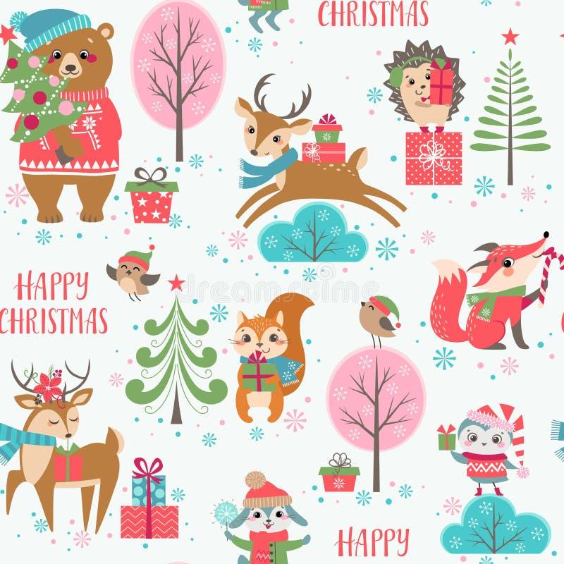 Het leuke patroon van Kerstmisdieren royalty-vrije illustratie