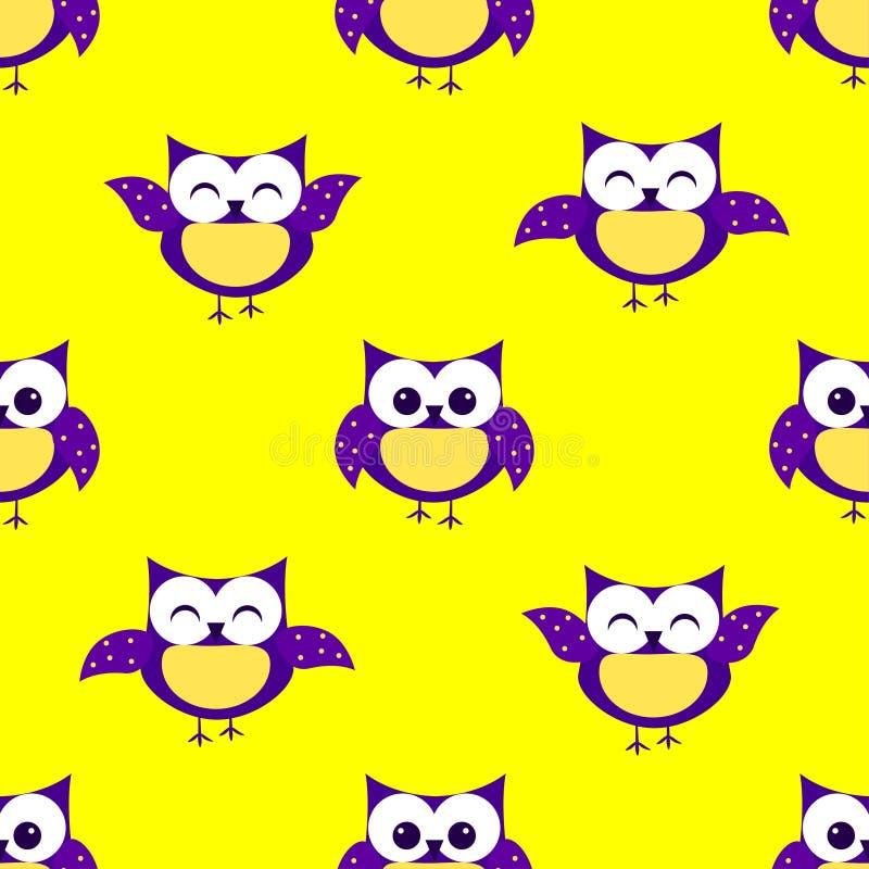 Het leuke patroon van uilen naadloze kinderen ` s, gele achtergrond vector illustratie