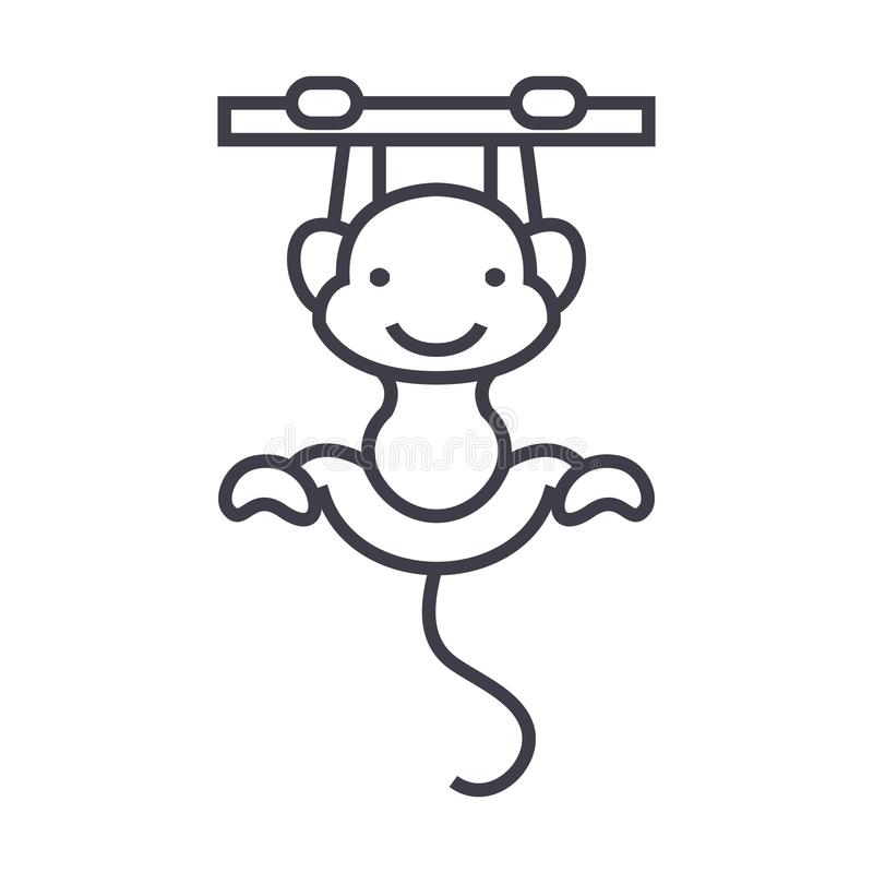 Het leuke pictogram van de aap vectorlijn, teken, illustratie op achtergrond, editable slagen vector illustratie