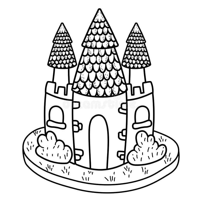 Het leuke pictogram van het fairytalekasteel stock illustratie