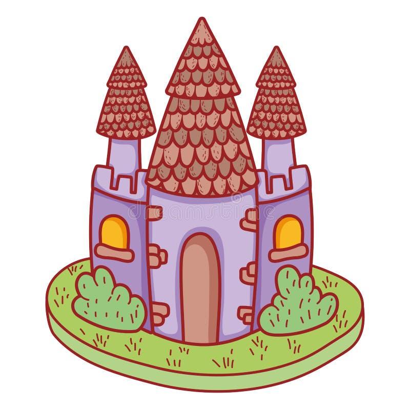Het leuke pictogram van het fairytalekasteel vector illustratie