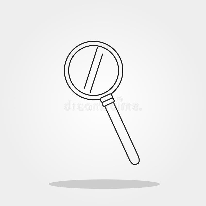 Het leuke pictogram van het lijnglas in in vlakke die stijl op grijs achtergrondschoolsymbool wordt geïsoleerd voor uw ontwerpui  stock illustratie