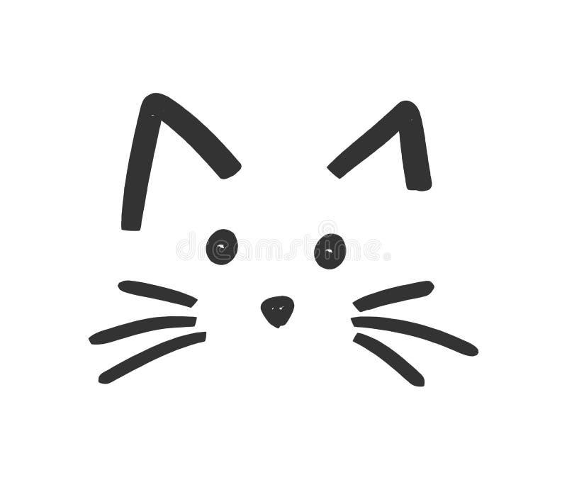 Het leuke pictogram van het kattengezicht stock illustratie