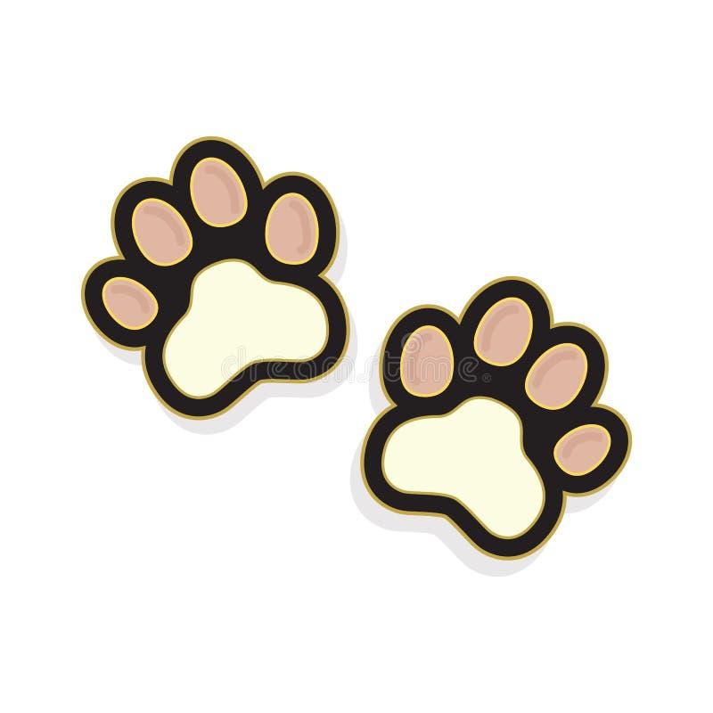 Het leuke pinkpaar van kat handtastelijk wordt het pictogram van de voetdruk op wit vector illustratie