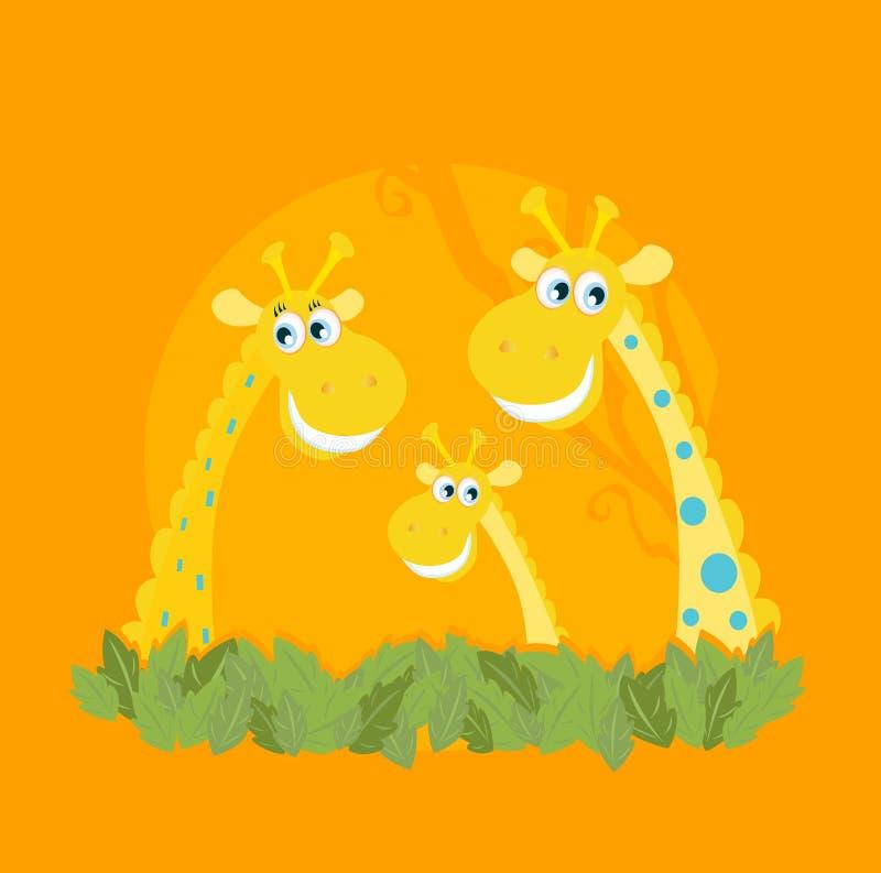 Het leuke portret van de giraffamilie stock illustratie