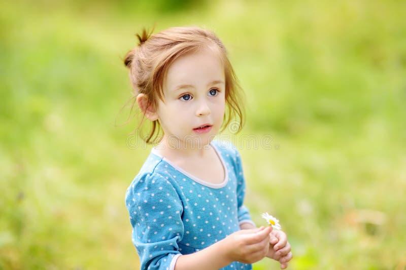 Het leuke portret van het peutermeisje in openlucht in de zomerdag Charmant kind royalty-vrije stock foto
