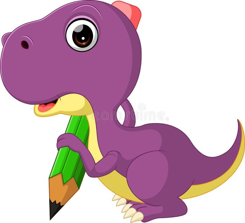 Het leuke potlood van de dinosaurusholding stock illustratie