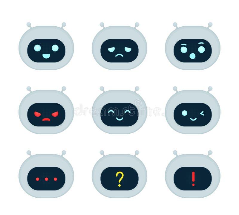 Het leuke robotbot karakter van de gezichtsemotie - reeks stock illustratie