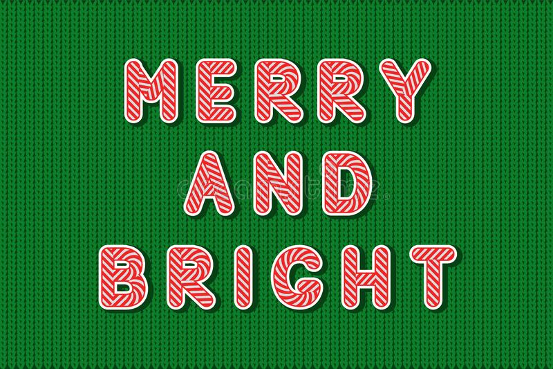 Het leuke rode en witte alfabet van de Suikergoedlolly, citeert Vrolijk en Helder, op groene gebreide vlakke die achtergrond, in  vector illustratie