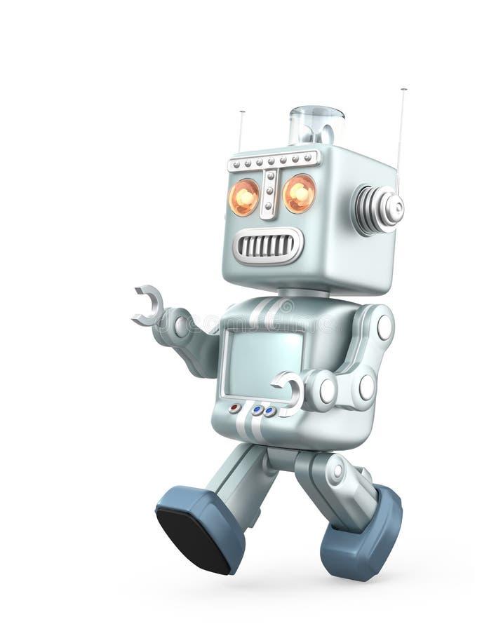 Het leuke uitstekende robot lopen Geïsoleerdj op witte achtergrond vector illustratie