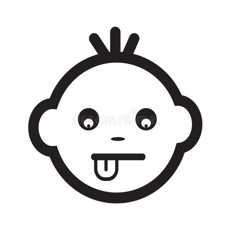 Het leuke van het de Emotiepictogram van het Babygezicht ontwerp van het de Illustratiesymbool stock illustratie