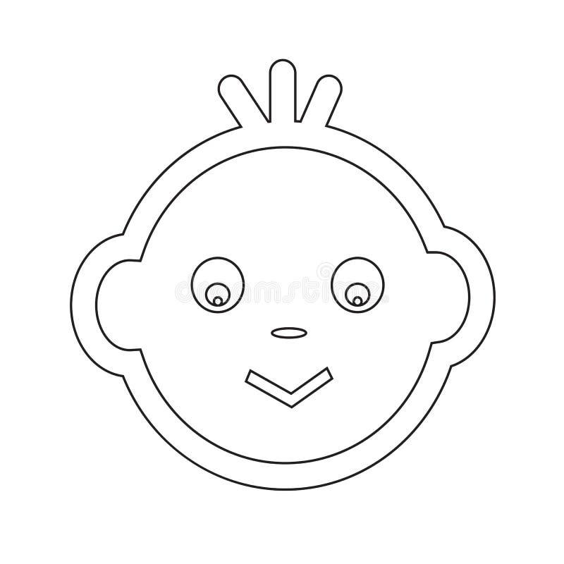 Het leuke van het de Emotiepictogram van het Babygezicht ontwerp van het de Illustratiesymbool royalty-vrije illustratie