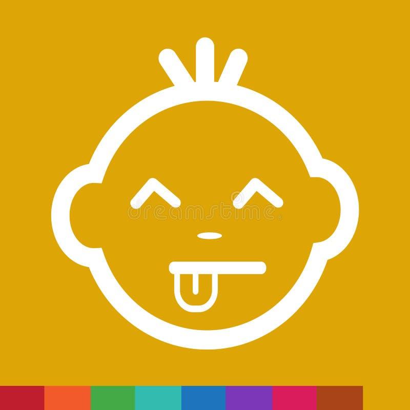 Het leuke van het de Emotiepictogram van het Babygezicht ontwerp van het de Illustratiesymbool vector illustratie