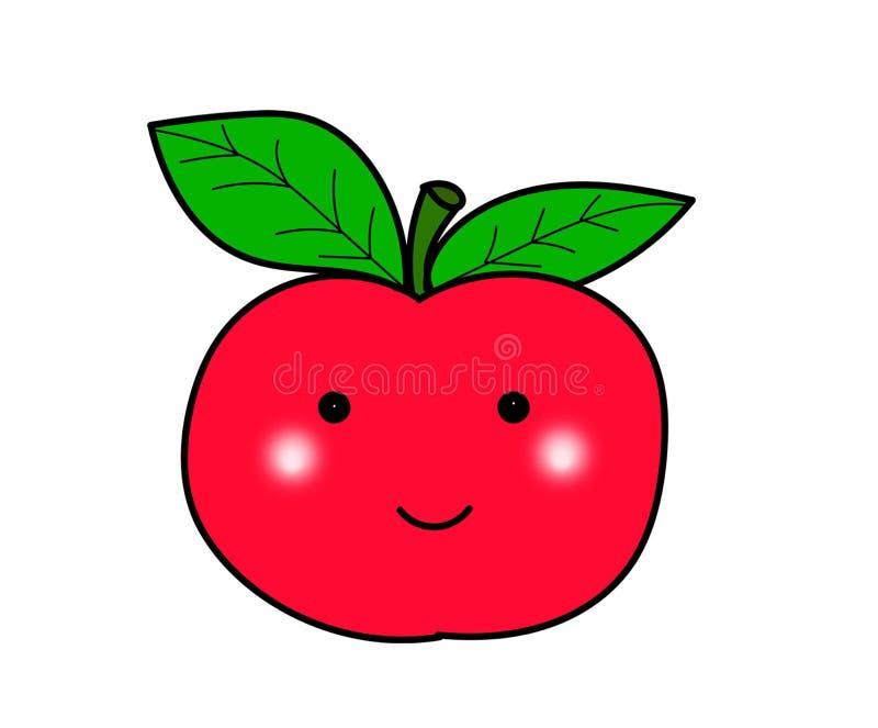 Het leuke van het de glimlachgezicht van het appelfruit van de het beeldverhaalkunst grappige behang stock foto's