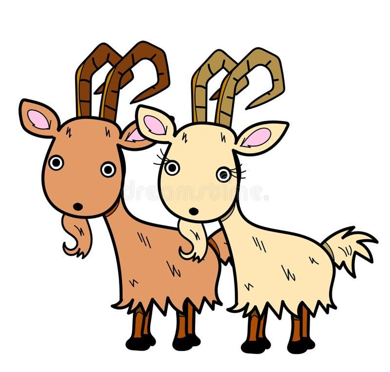 Het leuke van het de minnaarslandbouwbedrijf van de berggeit van de het beeldverhaalkunst dierlijke grappige behang royalty-vrije stock foto