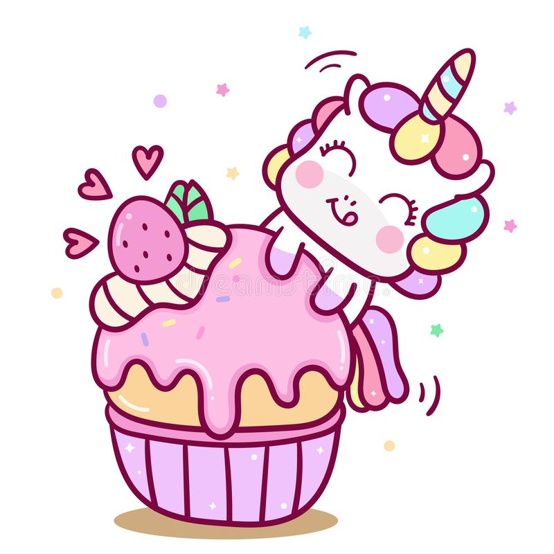 Het leuke van de de verjaardagskaart van de Eenhoorn vectorcake van het de poneybeeldverhaal van Kawaii yummy dessert babyshower royalty-vrije illustratie
