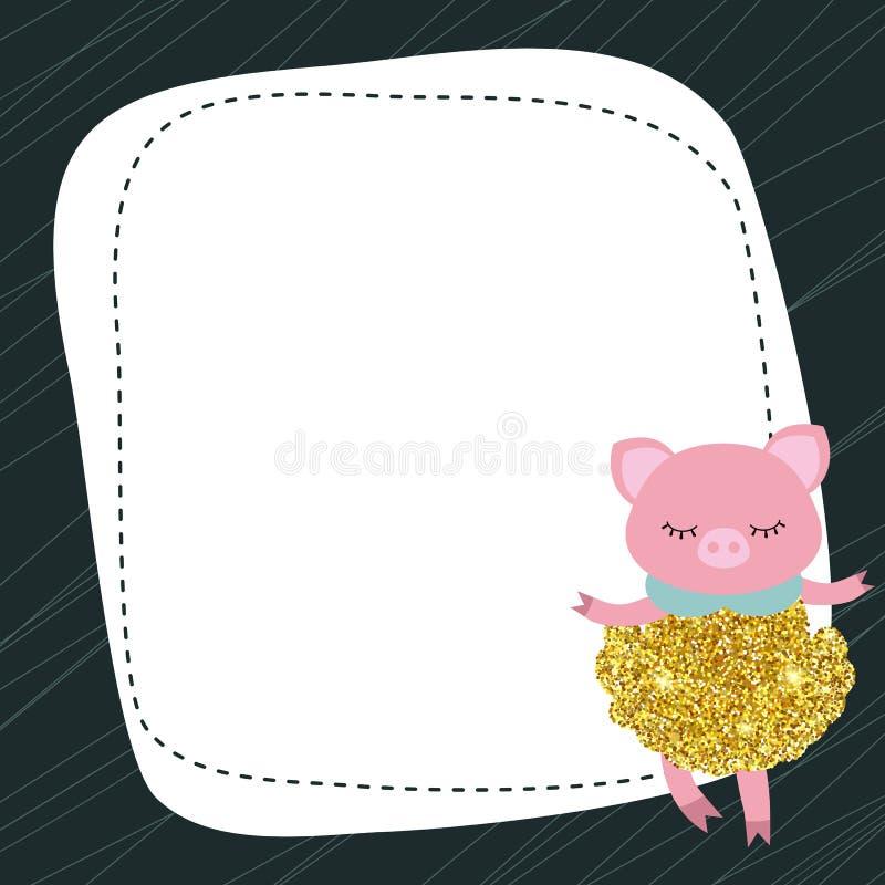 Het leuke varken met stof schittert royalty-vrije illustratie