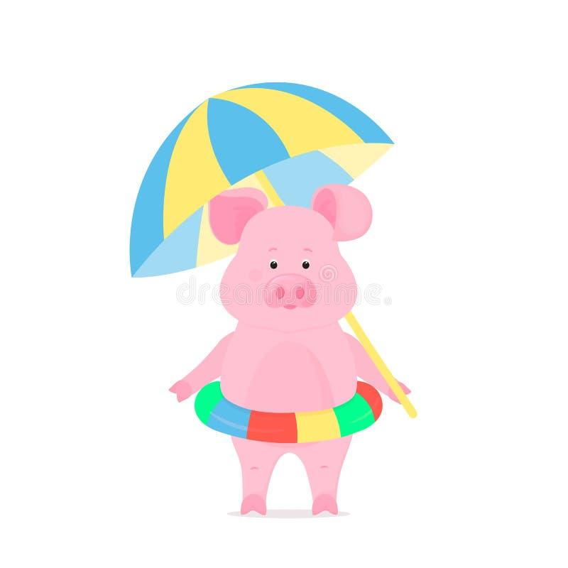 Het leuke varken op een strandvakantie met het opblaasbare zwemmen omcirkelt en een zonparasol Grappig Piggy-Beeldverhaalkarakter royalty-vrije illustratie
