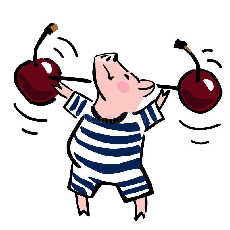 Het leuke varken van het kleuren vectorbeeldverhaal met kersengewicht stock illustratie